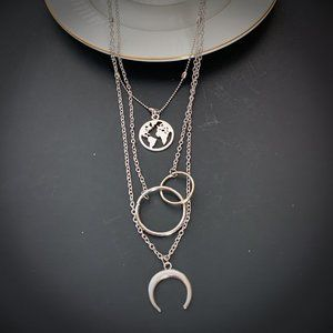 Jewelry - Silver Tone Multi Strand Necklace Moon Earth NEW